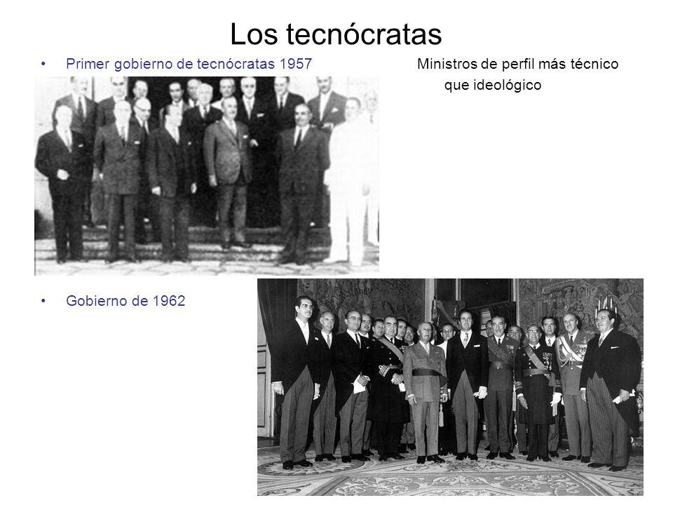 Los tecnócratas Primer gobierno de tecnócratas 1957 Ministros de perfil más técnico.