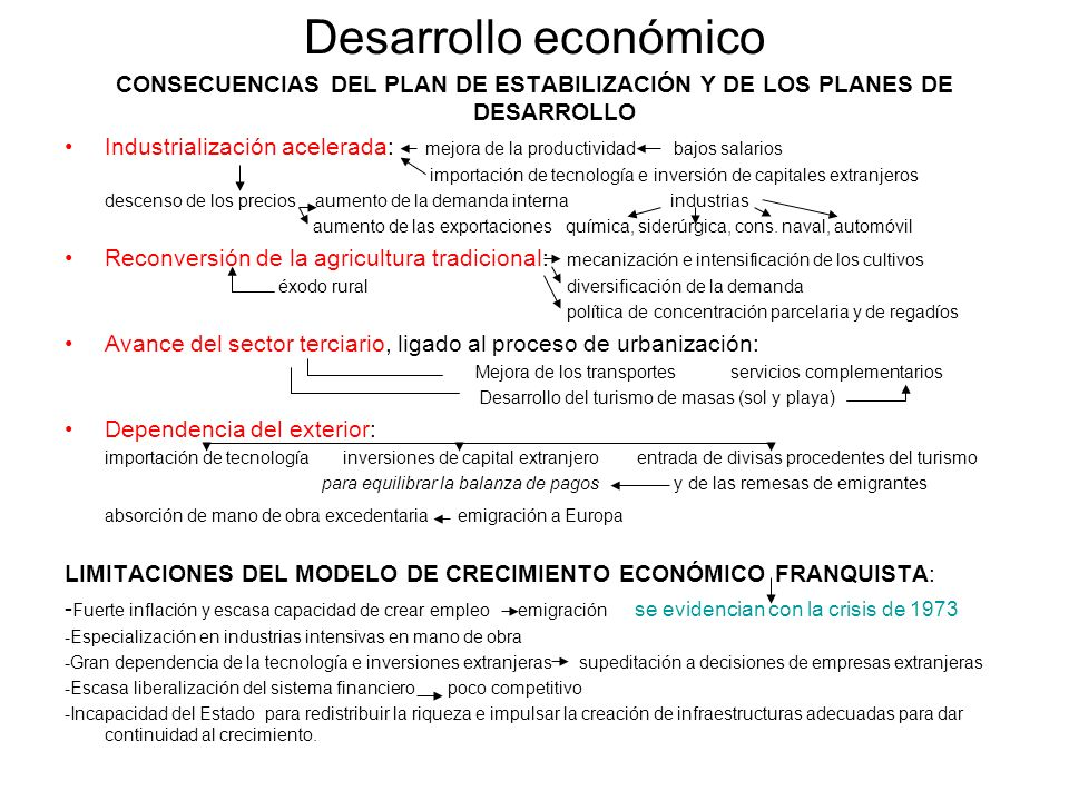 CONSECUENCIAS DEL PLAN DE ESTABILIZACIÓN Y DE LOS PLANES DE DESARROLLO