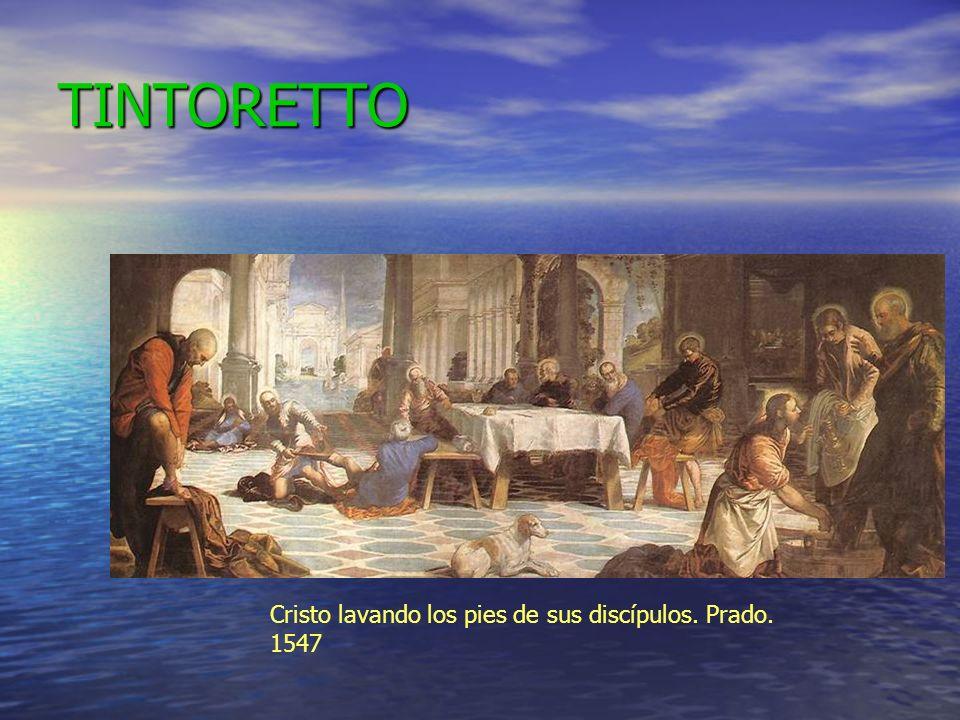 TINTORETTO Cristo lavando los pies de sus discípulos. Prado. 1547