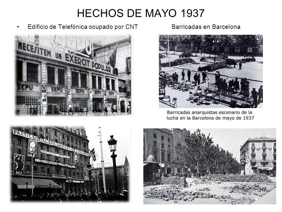 HECHOS DE MAYO 1937 Edificio de Telefónica ocupado por CNT Barricadas en Barcelona.