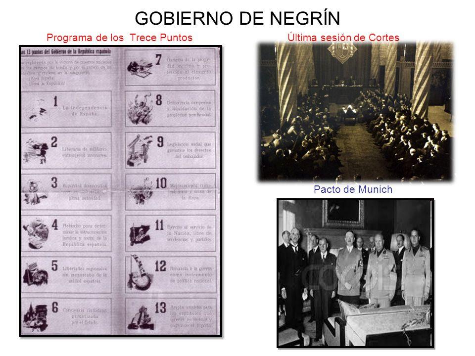 GOBIERNO DE NEGRÍN Programa de los Trece Puntos Última sesión de Cortes.