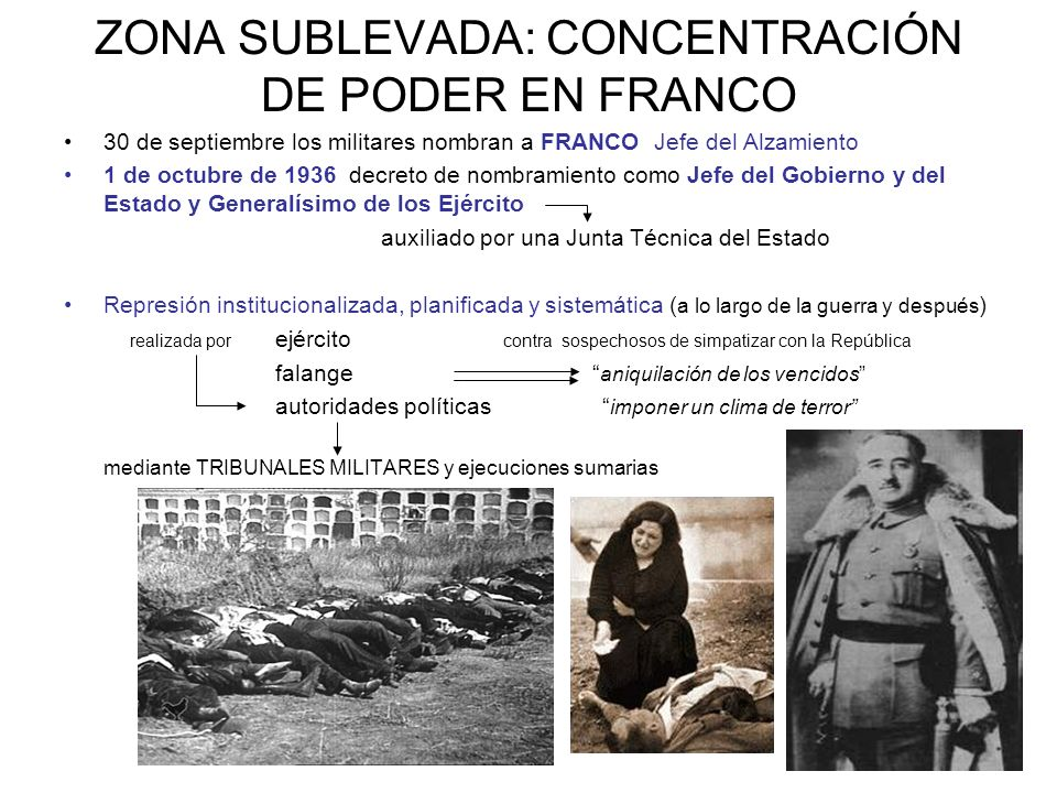 ZONA SUBLEVADA: CONCENTRACIÓN DE PODER EN FRANCO