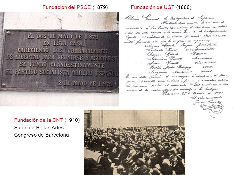 Fundación del PSOE (1879) Fundación de UGT (1888)