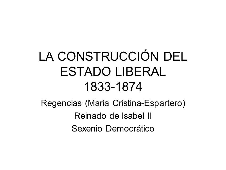 LA CONSTRUCCIÓN DEL ESTADO LIBERAL 1833-1874