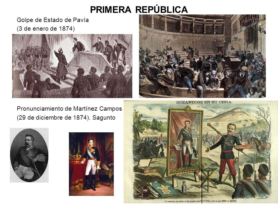 PRIMERA REPÚBLICA Golpe de Estado de Pavía (3 de enero de 1874)