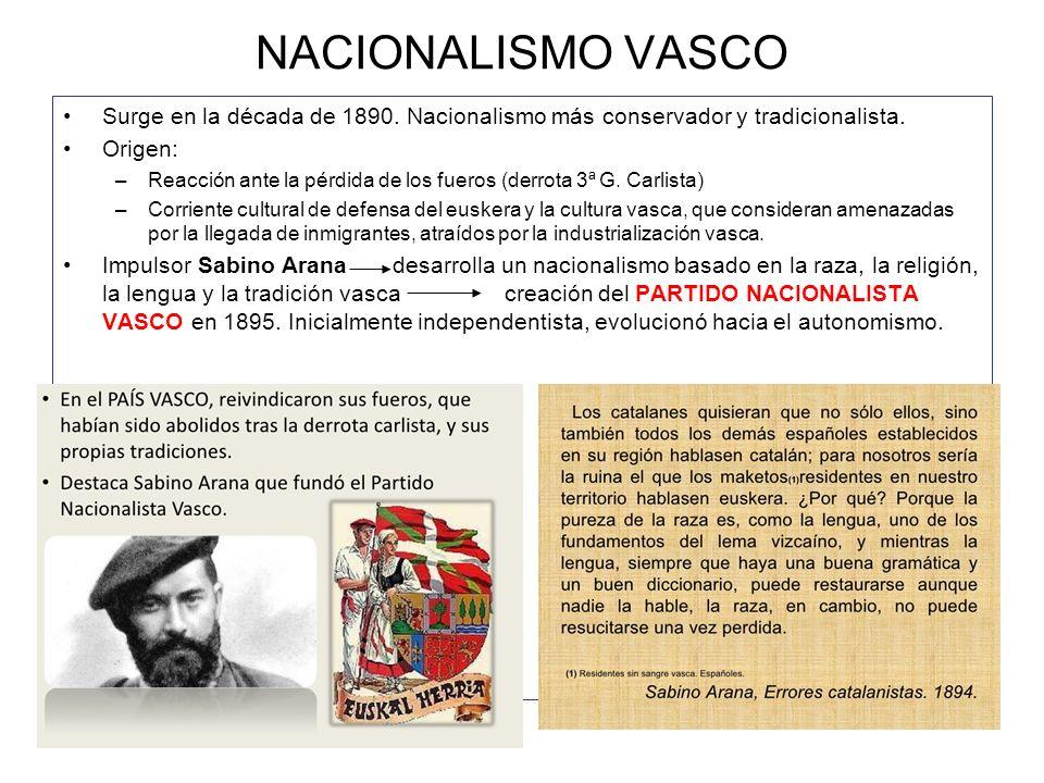 NACIONALISMO VASCOSurge en la década de 1890. Nacionalismo más conservador y tradicionalista. Origen: