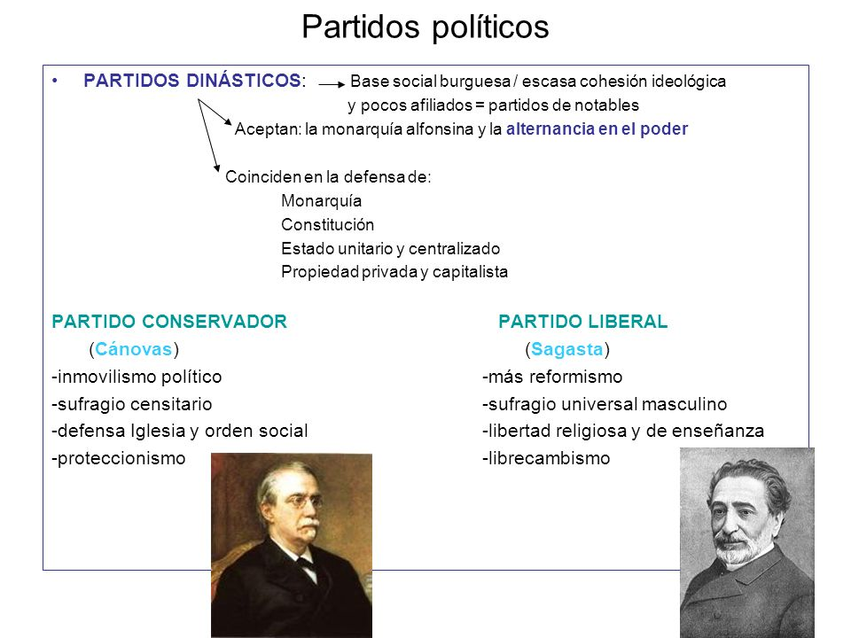 Partidos políticosPARTIDOS DINÁSTICOS: Base social burguesa / escasa cohesión ideológica. y pocos afiliados = partidos de notables.