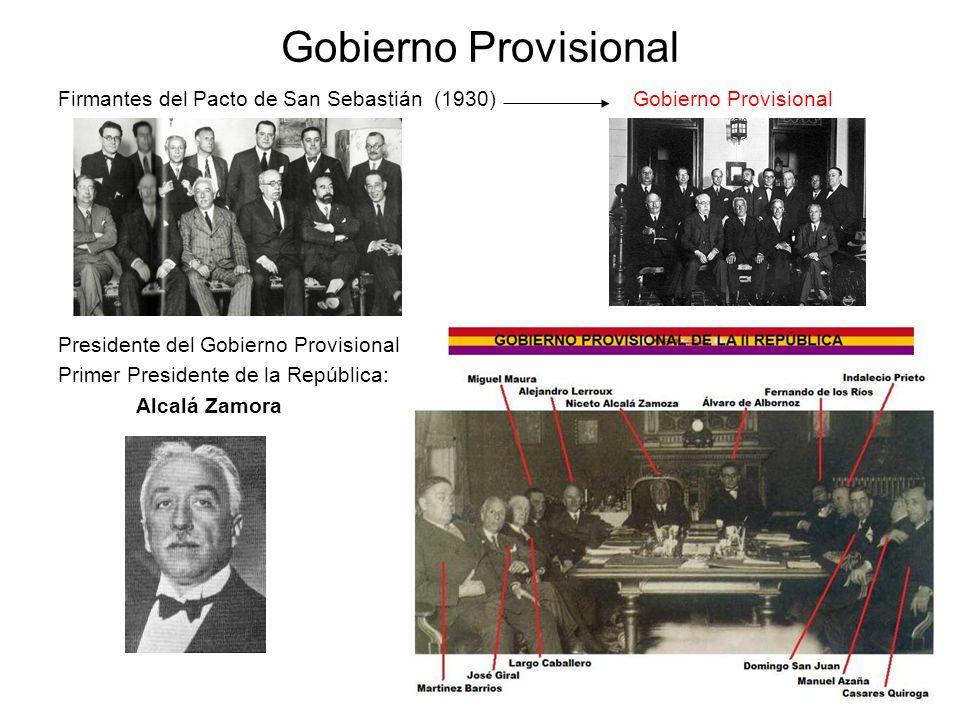 Gobierno Provisional Firmantes del Pacto de San Sebastián (1930) Gobierno Provisional.