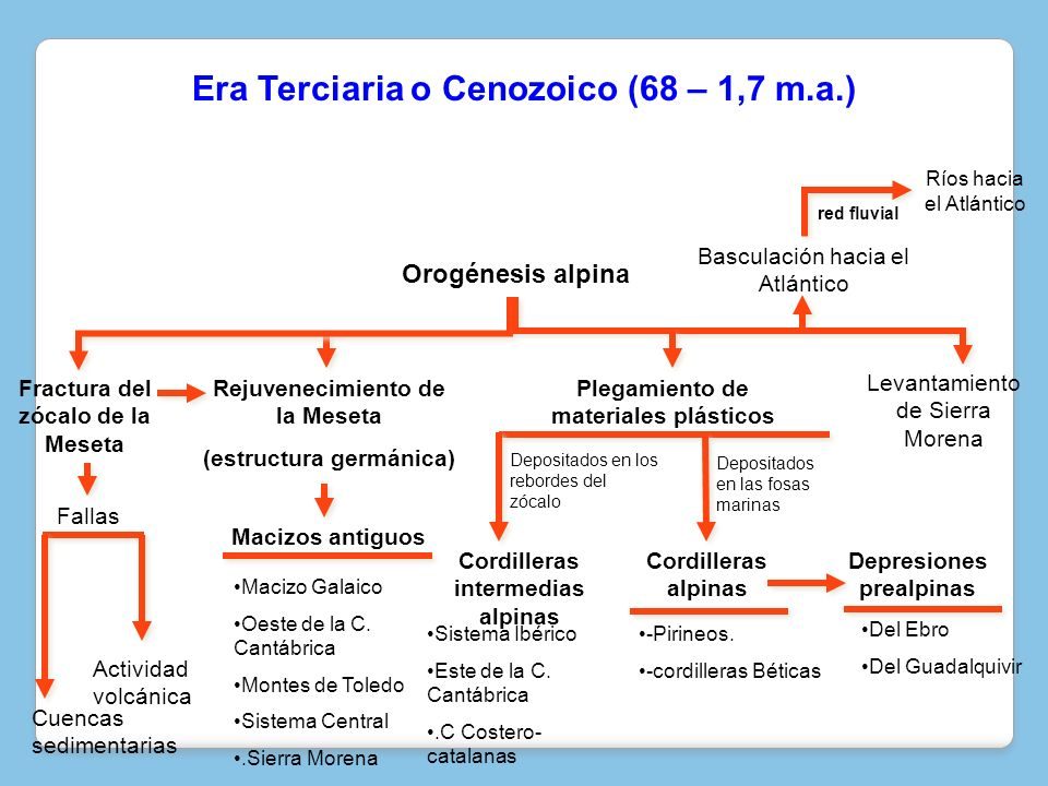Era Terciaria o Cenozoico (68 – 1,7 m.a.)