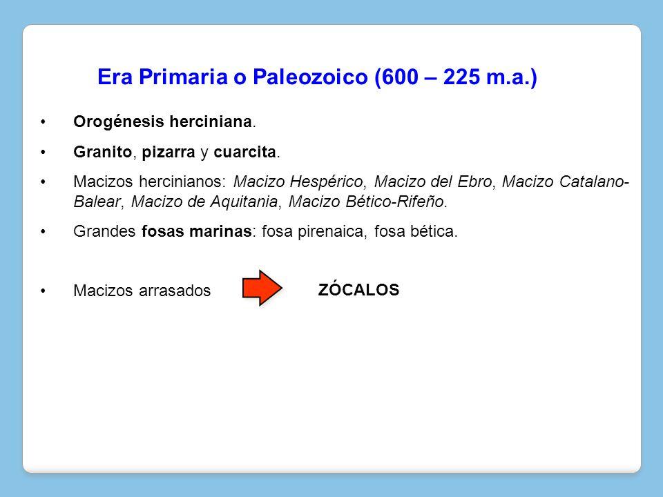 Era Primaria o Paleozoico (600 – 225 m.a.)