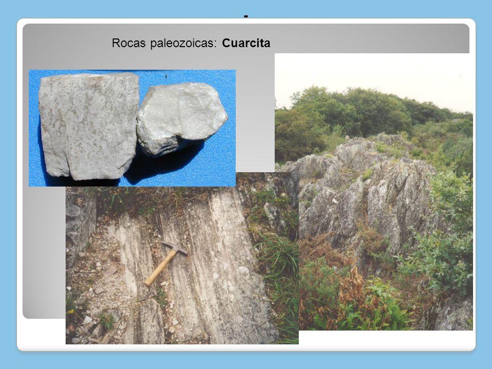 - Rocas paleozoicas: Cuarcita