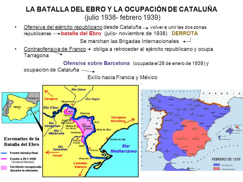LA BATALLA DEL EBRO Y LA OCUPACIÓN DE CATALUÑA (julio 1938- febrero 1939)