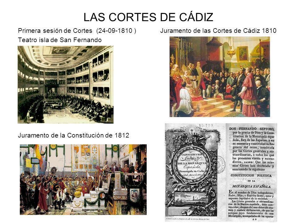 LAS CORTES DE CÁDIZ Primera sesión de Cortes (24-09-1810 ) Juramento de las Cortes de Cádiz 1810.