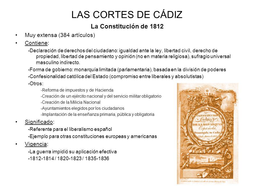 LAS CORTES DE CÁDIZ La Constitución de 1812