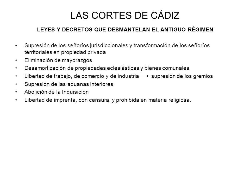 LEYES Y DECRETOS QUE DESMANTELAN EL ANTIGUO RÉGIMEN