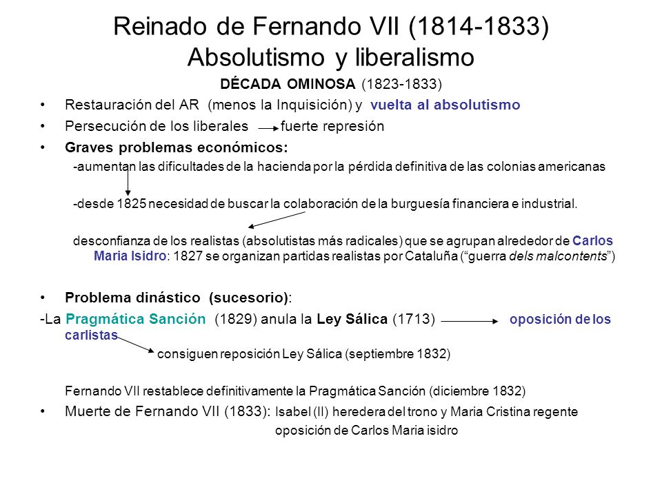 Reinado de Fernando VII (1814-1833) Absolutismo y liberalismo
