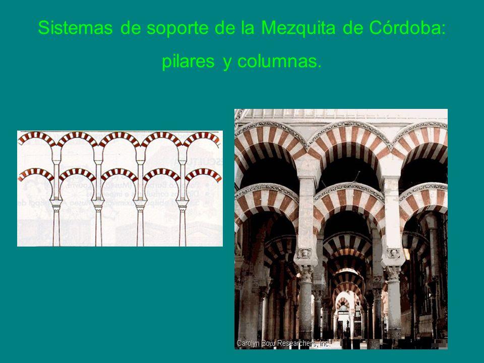 Sistemas de soporte de la Mezquita de Córdoba: pilares y columnas.