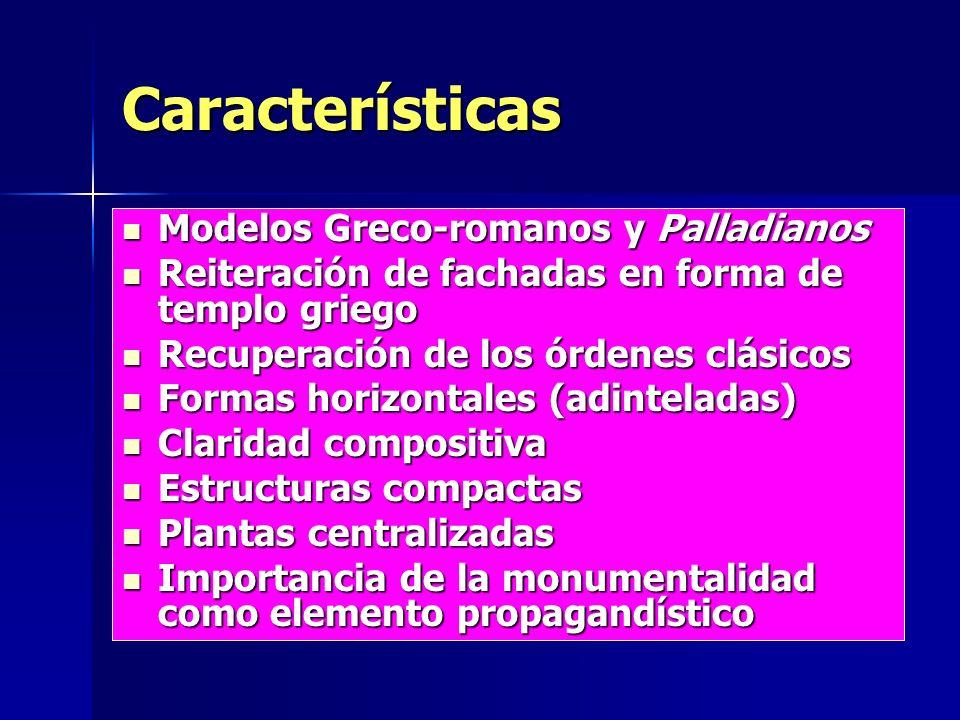 Características Modelos Greco-romanos y Palladianos