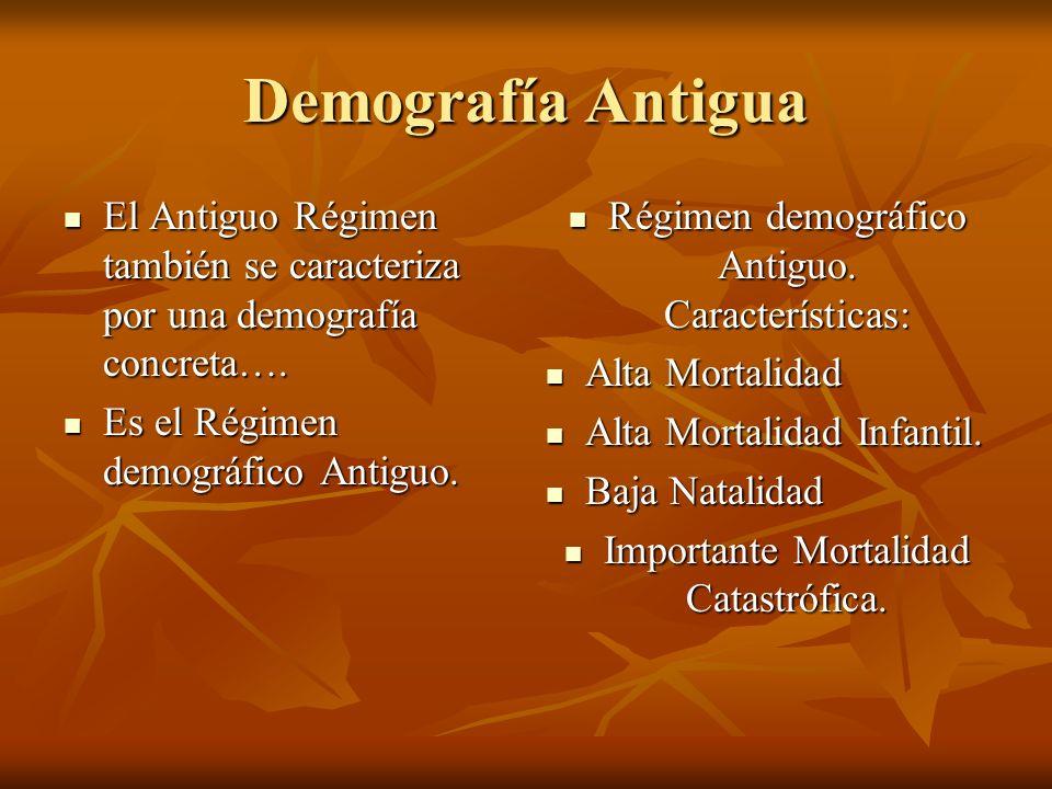 Demografía Antigua El Antiguo Régimen también se caracteriza por una demografía concreta…. Es el Régimen demográfico Antiguo.