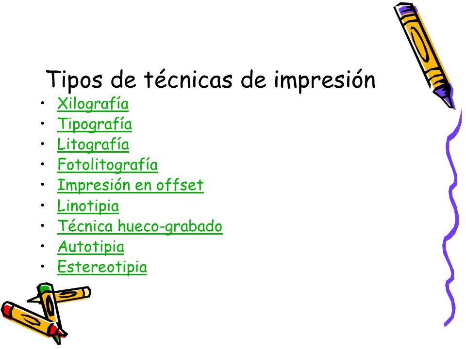 Tipos de técnicas de impresión