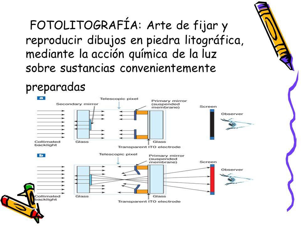 FOTOLITOGRAFÍA: Arte de fijar y reproducir dibujos en piedra litográfica, mediante la acción química de la luz sobre sustancias convenientemente preparadas