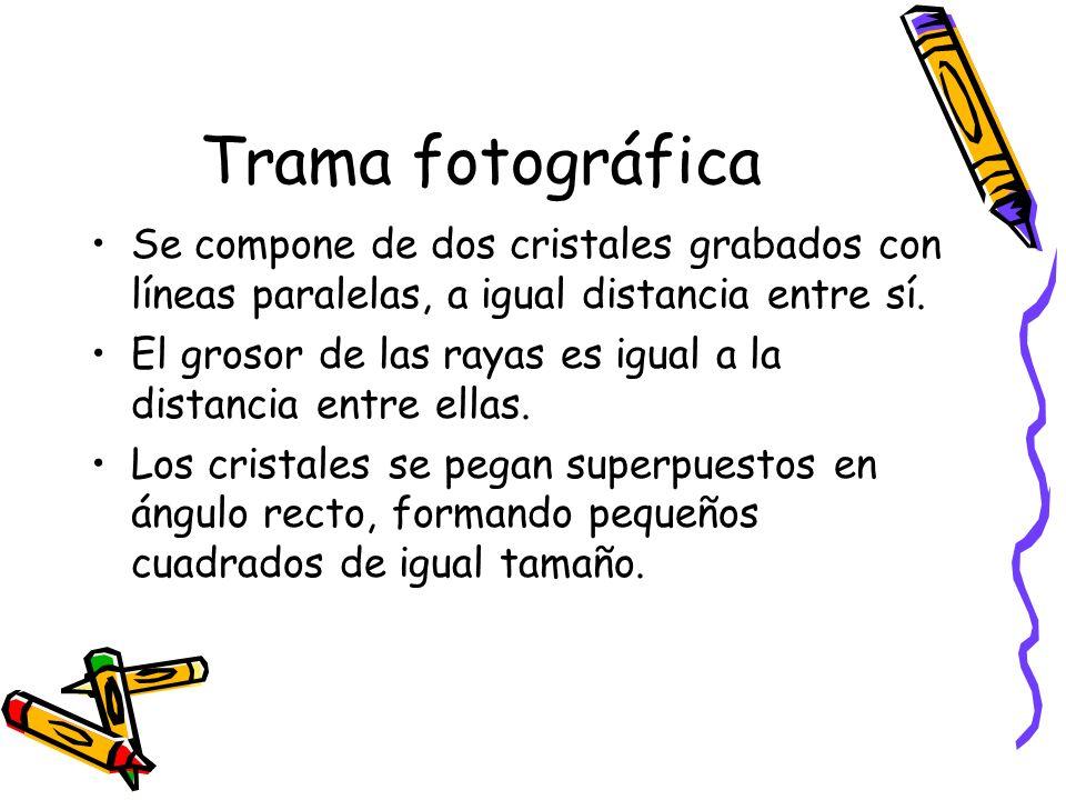 Trama fotográfica Se compone de dos cristales grabados con líneas paralelas, a igual distancia entre sí.