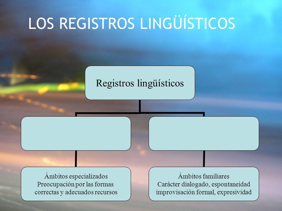 LOS REGISTROS LINGÜÍSTICOS