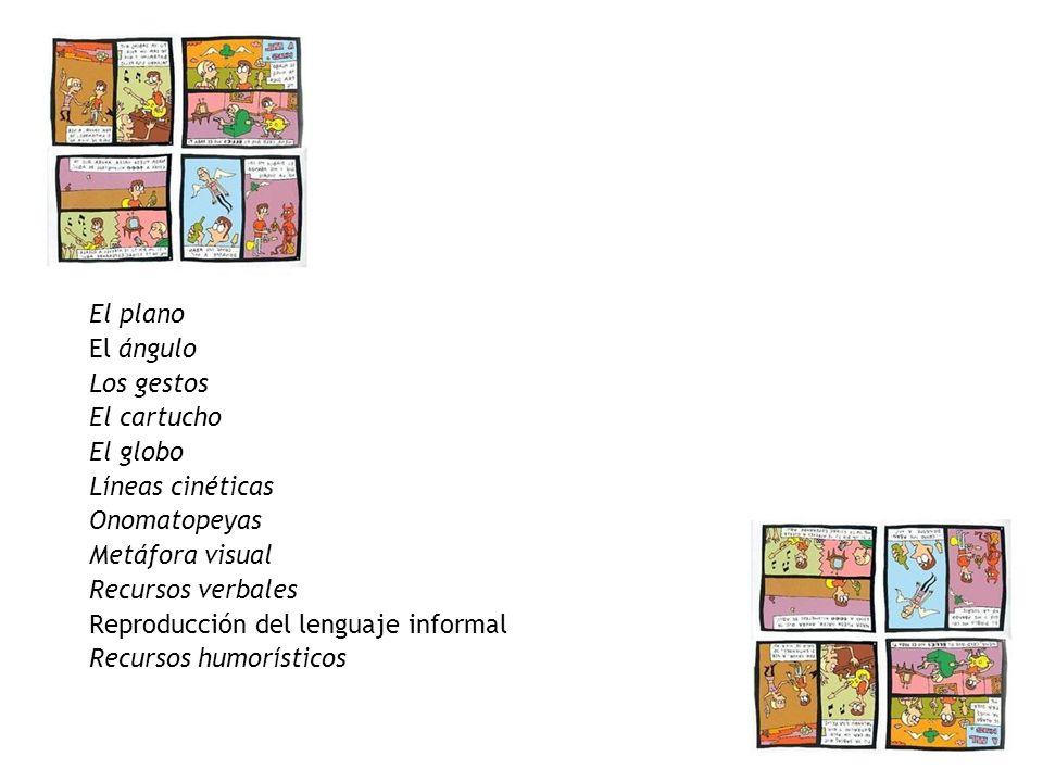 El plano El ángulo. Los gestos. El cartucho. El globo. Líneas cinéticas. Onomatopeyas. Metáfora visual.