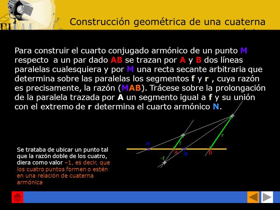 Construcción geométrica de una cuaterna armónica