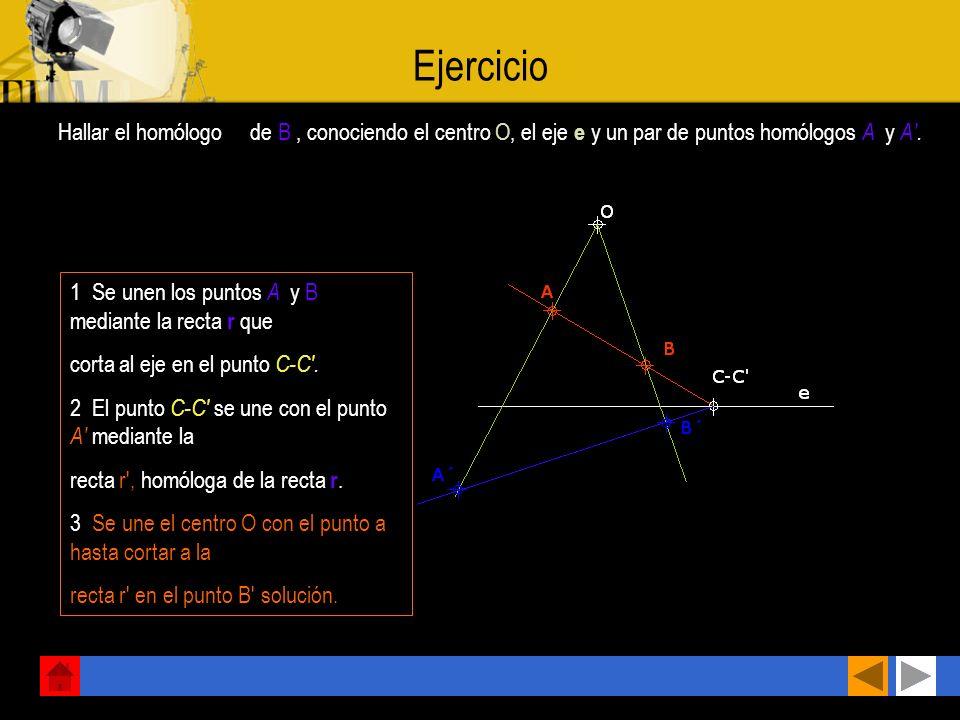 Ejercicio Hallar el homólogo B de B , conociendo el centro O, el eje e y un par de puntos homólogos A y A .