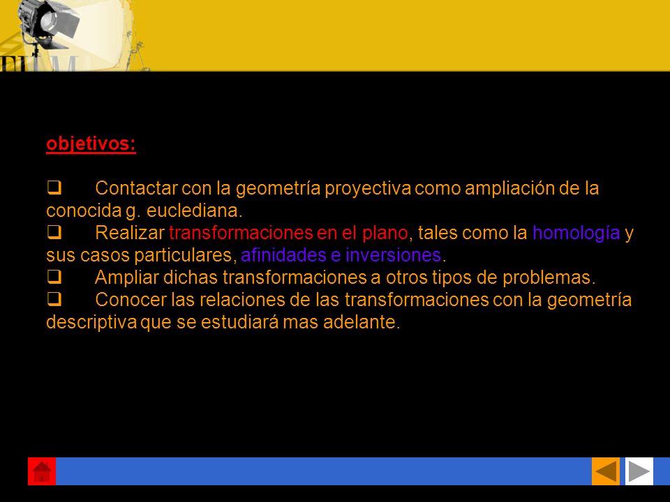 objetivos: q Contactar con la geometría proyectiva como ampliación de la conocida g. euclediana.