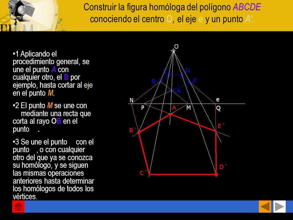 Construir la figura homóloga del polígono ABCDE conociendo el centro O, el eje e y un punto A .