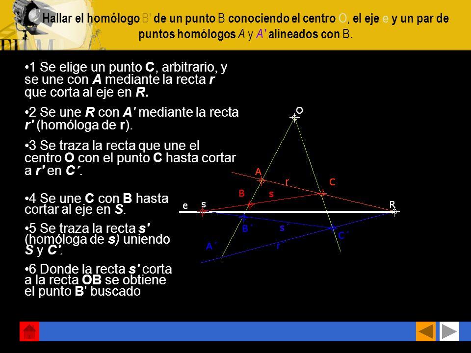 Hallar el homólogo B de un punto B conociendo el centro O, el eje e y un par de puntos homólogos A y A alineados con B.