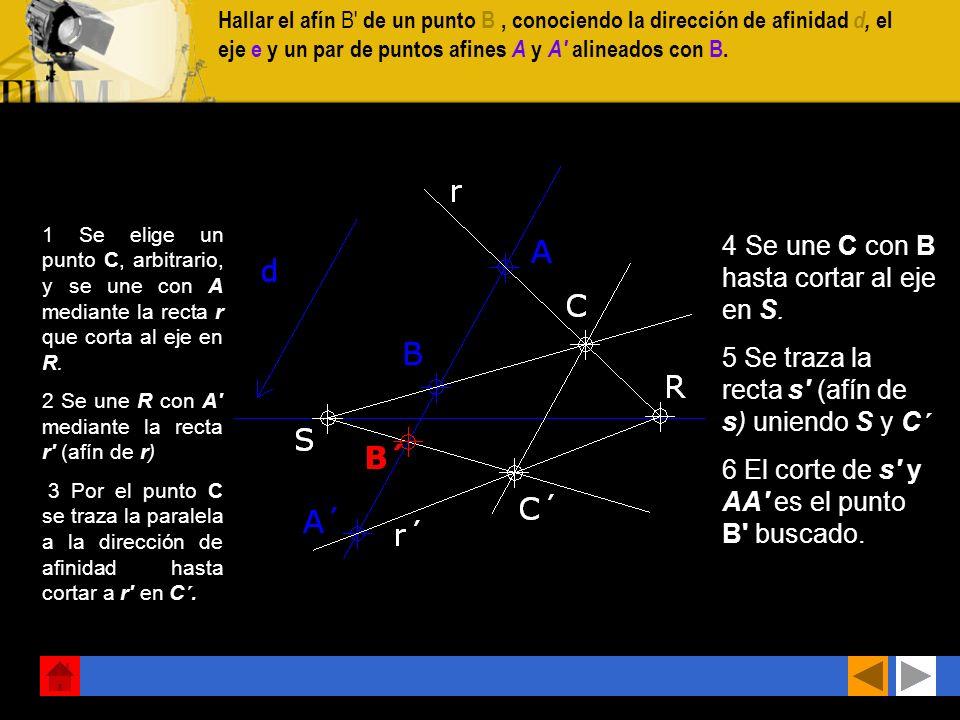 4 Se une C con B hasta cortar al eje en S.
