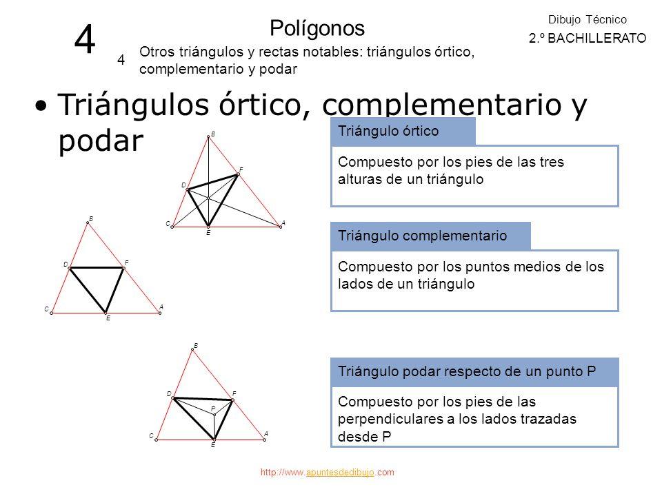 4 Triángulos órtico, complementario y podar Polígonos