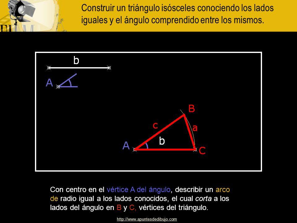 Construir un triángulo isósceles conociendo los lados iguales y el ángulo comprendido entre los mismos.