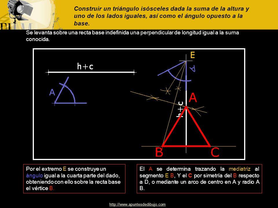 Construir un triángulo isósceles dada la suma de la altura y uno de los lados iguales, así como el ángulo opuesto a la base.