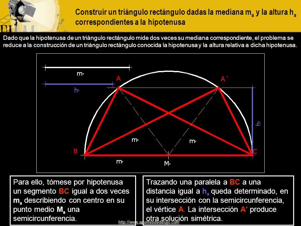 Construir un triángulo rectángulo dadas la mediana ma y la altura ha correspondientes a la hipotenusa