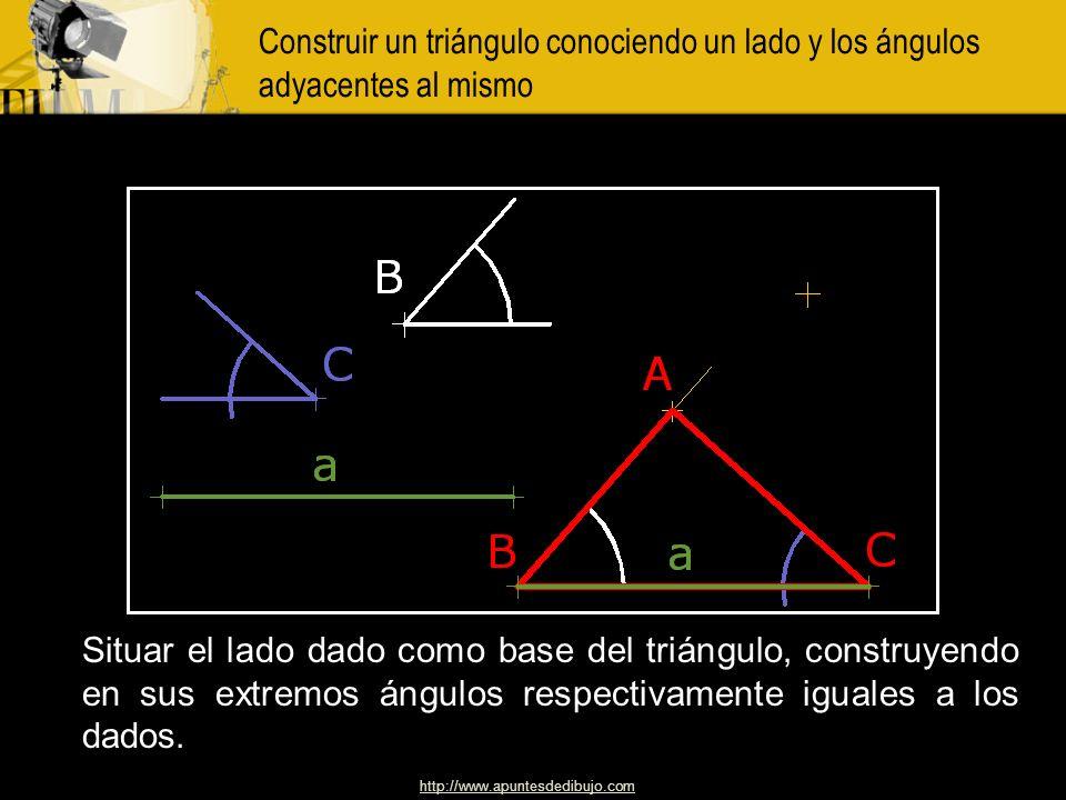 Construir un triángulo conociendo un lado y los ángulos adyacentes al mismo
