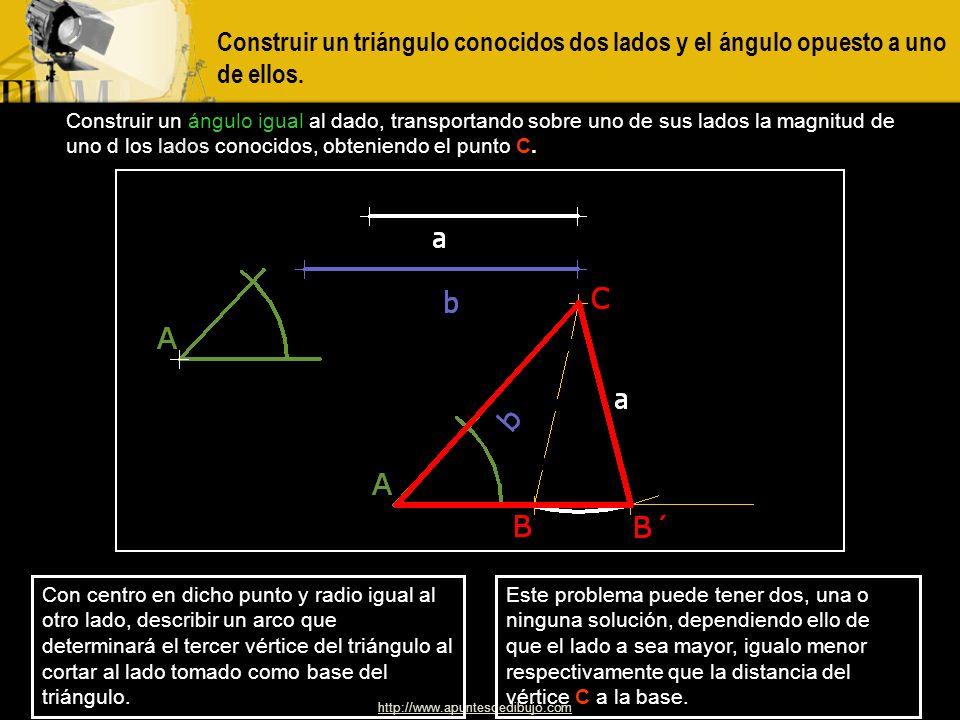 Construir un triángulo conocidos dos lados y el ángulo opuesto a uno de ellos.