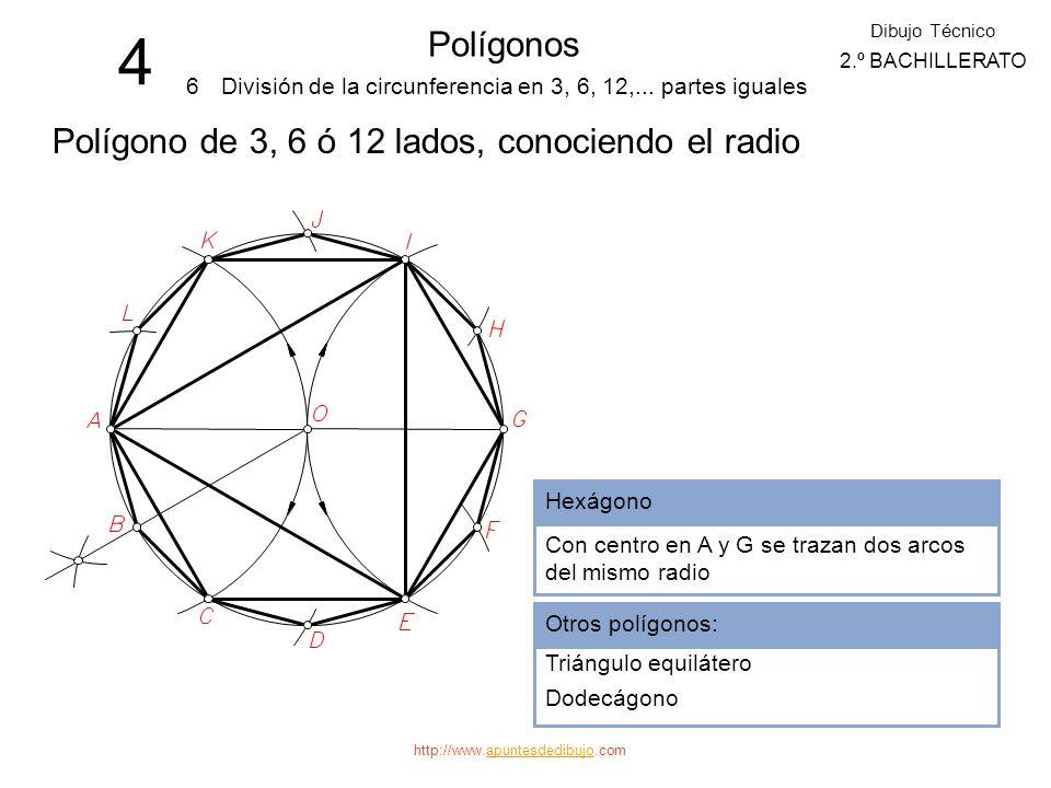 4 Polígonos Polígono de 3, 6 ó 12 lados, conociendo el radio 6