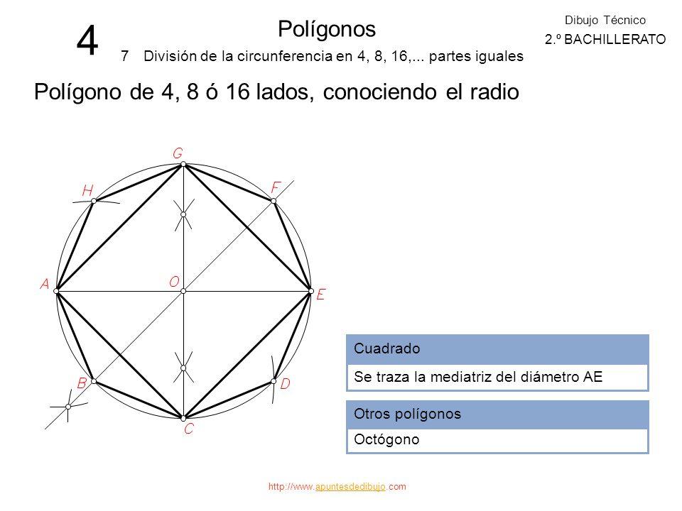 4 Polígonos Polígono de 4, 8 ó 16 lados, conociendo el radio 7