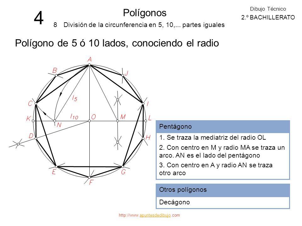 4 Polígonos Polígono de 5 ó 10 lados, conociendo el radio 8