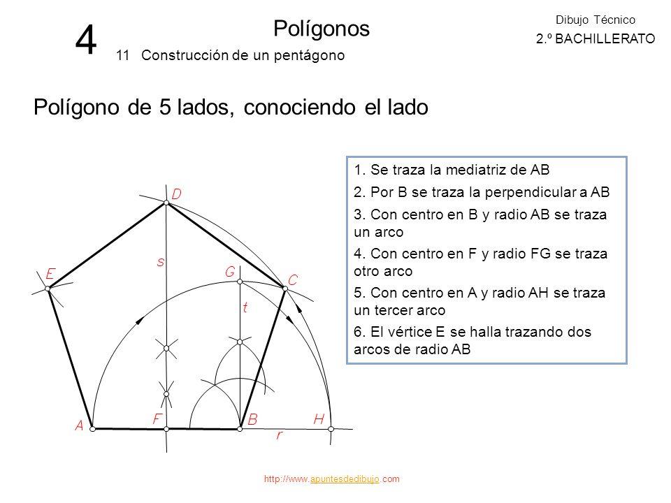 4 Polígonos Polígono de 5 lados, conociendo el lado 11