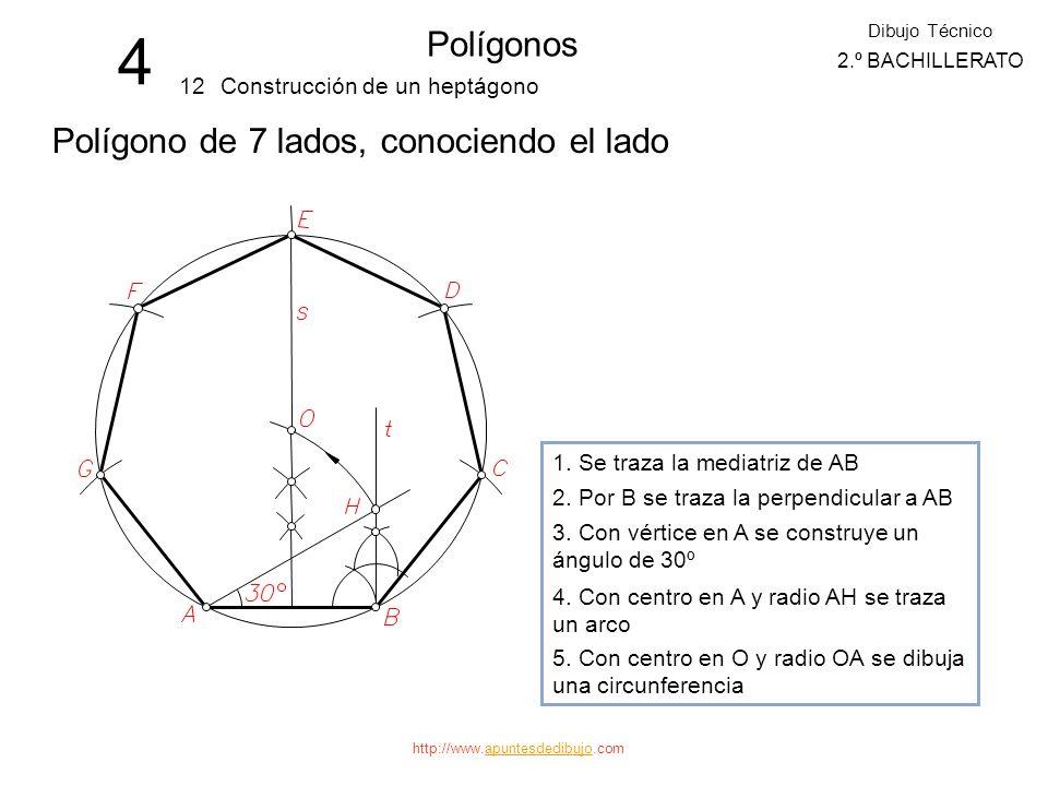 4 Polígonos Polígono de 7 lados, conociendo el lado 12