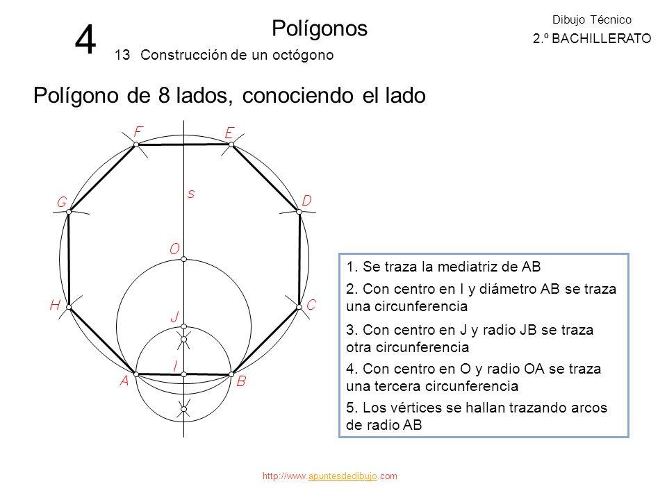 4 Polígonos Polígono de 8 lados, conociendo el lado 13