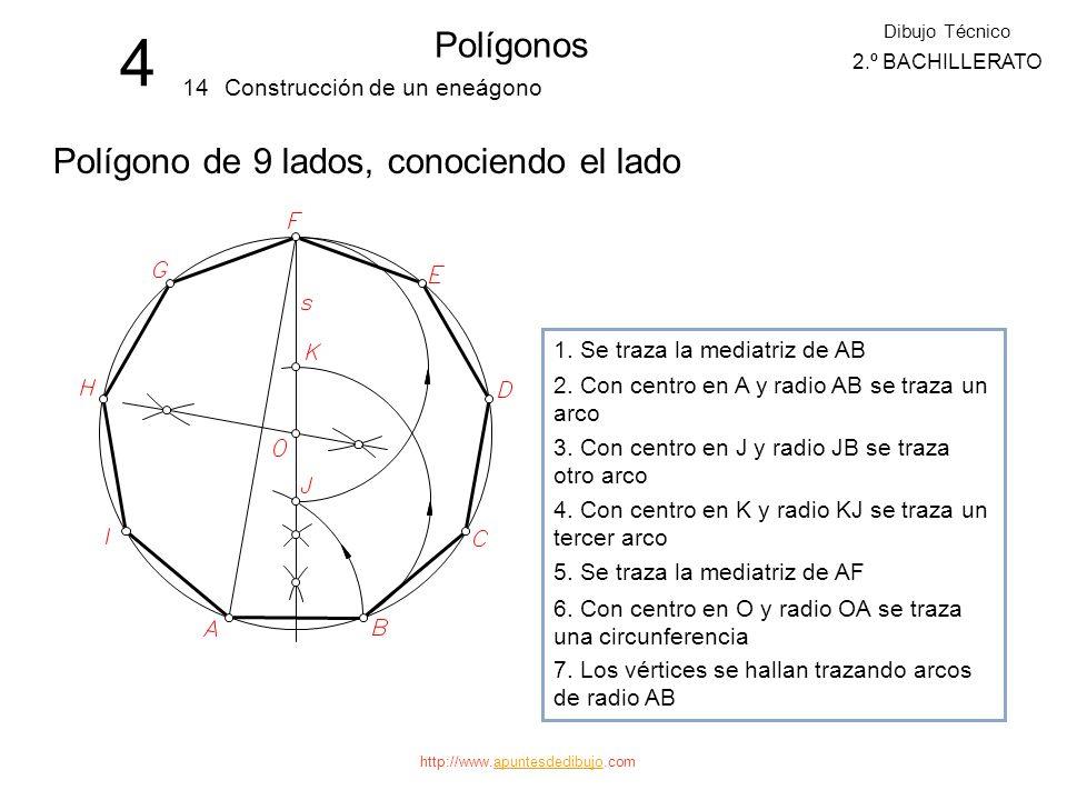 4 Polígonos Polígono de 9 lados, conociendo el lado 14