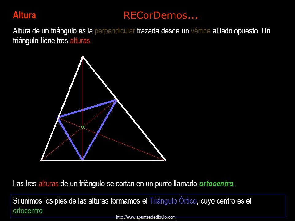 Altura Altura de un triángulo es la perpendicular trazada desde un vértice al lado opuesto. Un triángulo tiene tres alturas.