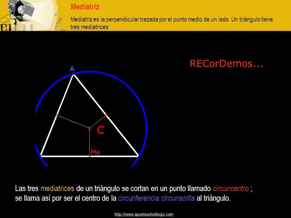 MediatrizMediatriz es la perpendicular trazada por el punto medio de un lado. Un triángulo tiene tres mediatrices.