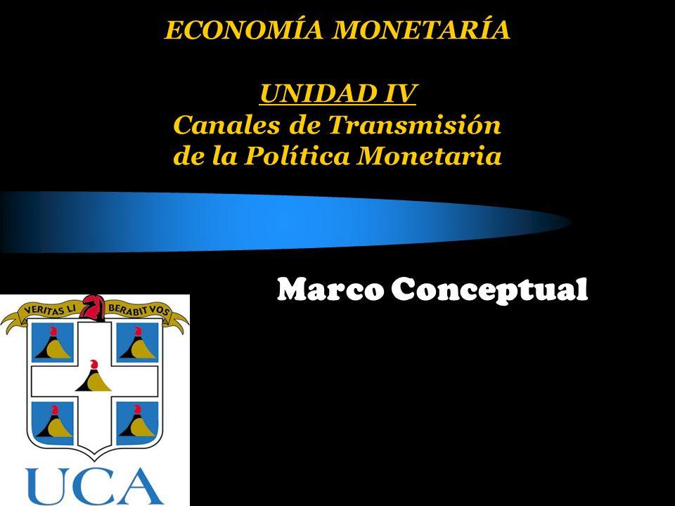 ECONOMÍA MONETARÍA UNIDAD IV Canales de Transmisión de la Política Monetaria